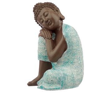 Decorative Turquoise & Brown Buddha Figurine - Contemplation