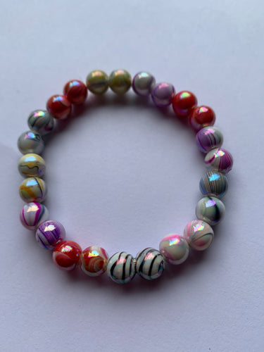 Handmade Candy Stripe Acrylic 8mm Beaded Bracelet