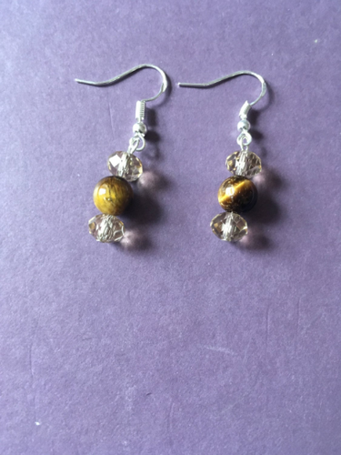 Tigers eye and Swarovski crystal drop earring