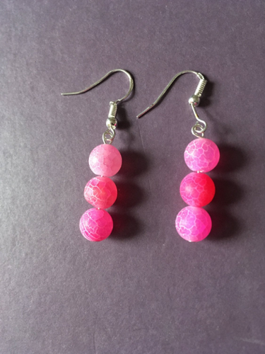 Pink frosted spiderweb agate earrings