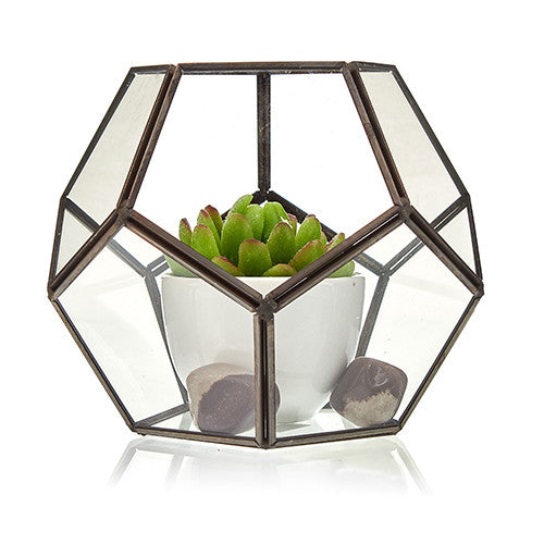 Glass & Brass Terrariums Planter Moss Box Home - Decor - Garden