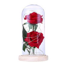 Load image into Gallery viewer, Beauty And The Beast Rose Rose In LED Glass Dome Forever Rose Red Rose