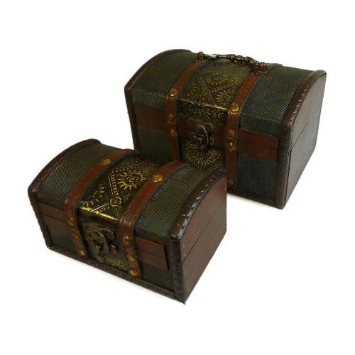 Set of 2 Colonial Boxes - Retro Antique Colonial Style Box - Metal Embossed