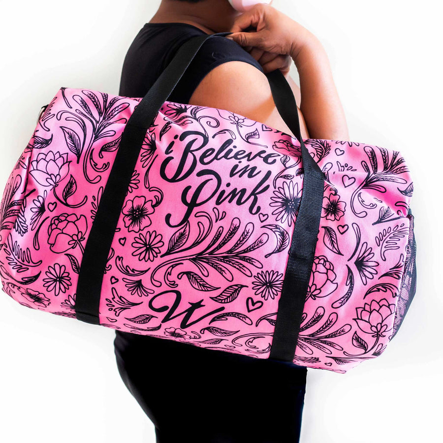I Believe In Pink Breast Cancer Awareness Duffle Bag - WayneAnthony