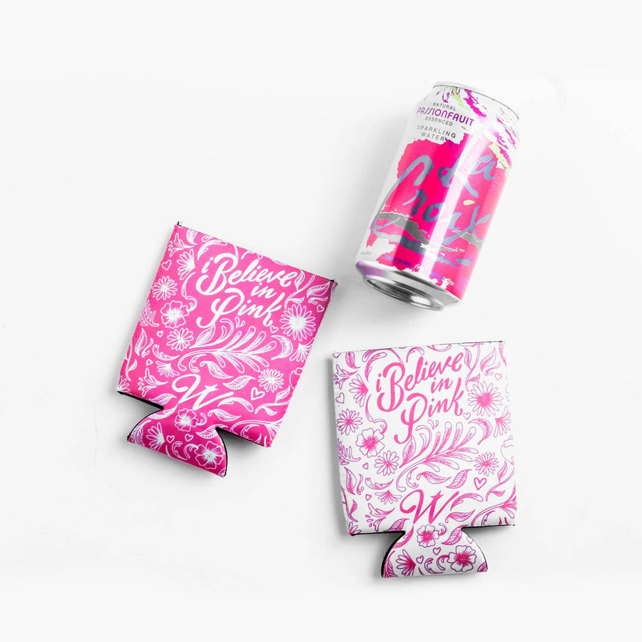 I Believe In Pink Breast Cancer Awareness Drink Sleeve Set, 2 - WayneAnthony