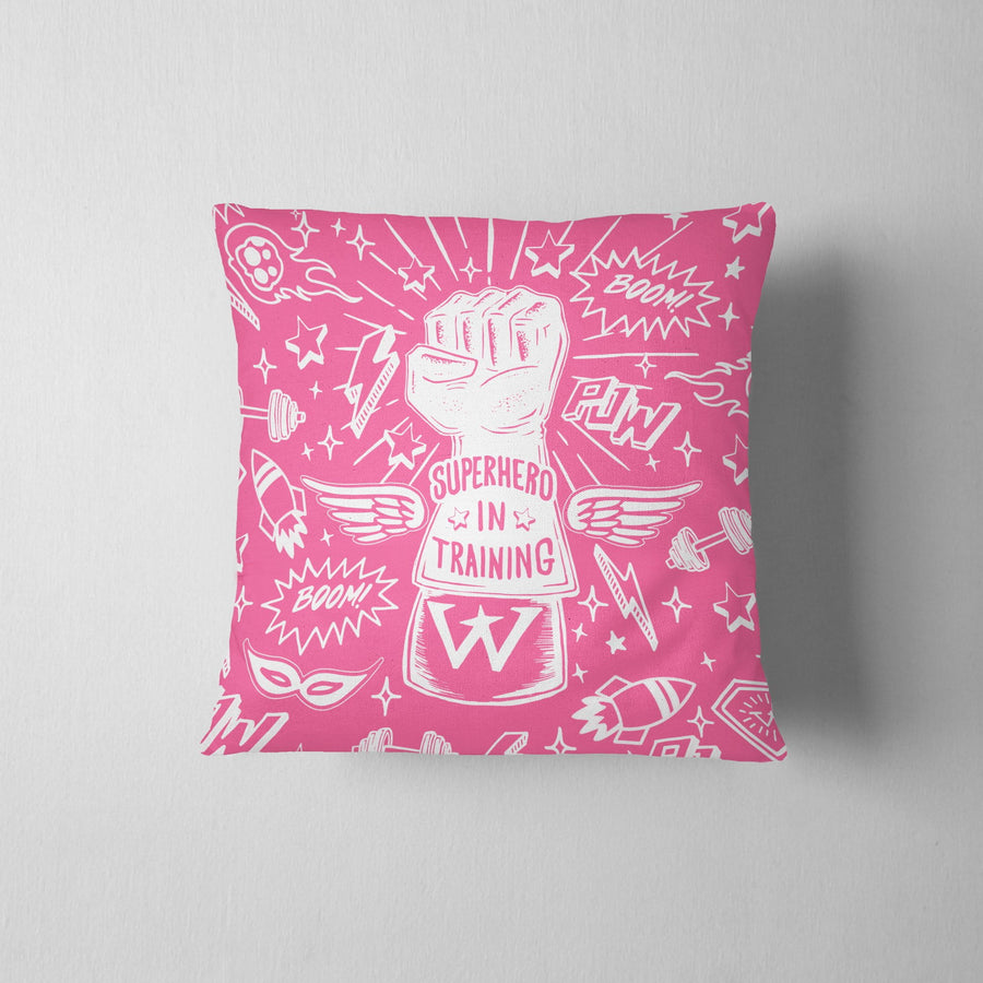 Superhero In Training Graphic Throw Pillow - WayneAnthony