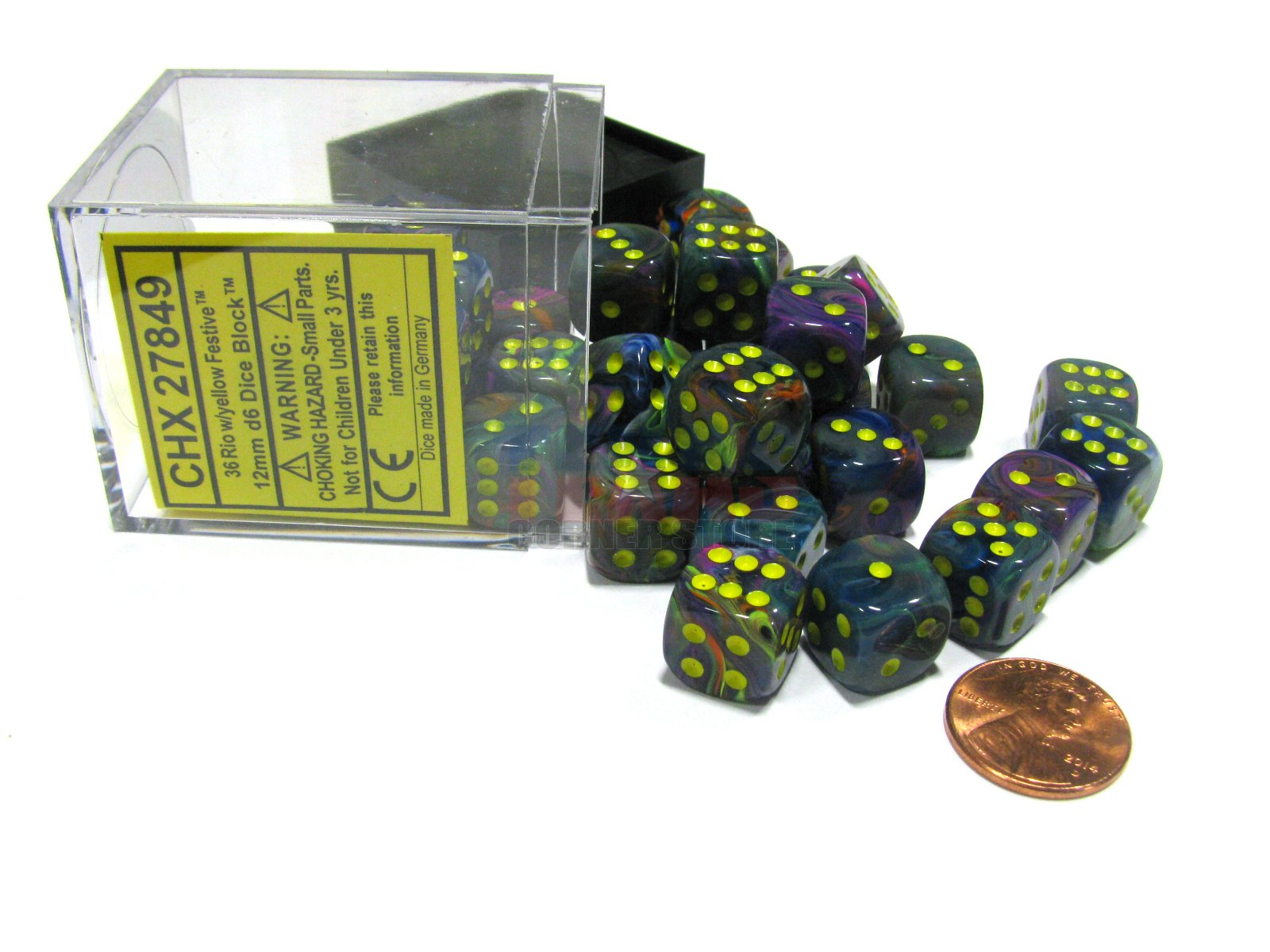 Chessex: D6 Festive™ DICE SET - 12MM | Acropolis Games MI