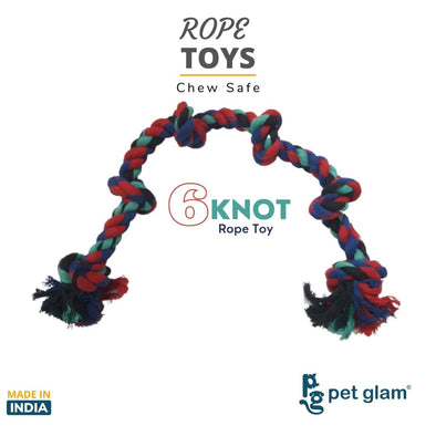 Pet Glam 6 Knot Rope Toy for Dogs-Chew Safe Toys for Dogs and Puppies