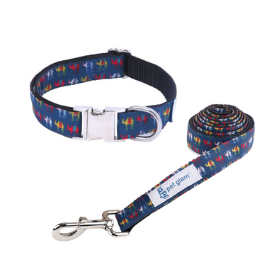 Pet Glam Camel Trails-Dog Collar Leash Set-Adjustable Buckles for Small-Medium & Large Dog Breeds