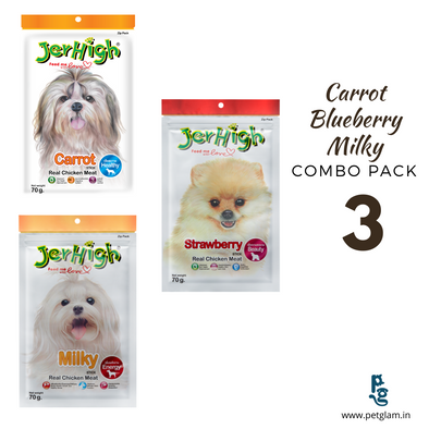 Jerhigh Carrot-Strawberry-Milky Stick-Combo Pack of 3 Dog Treats 70 Gms