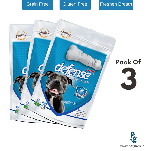 Combo Pack Defense Anti Bacterial Dental Care Dog Chew Treats-7 Pcs (Pack Of 3)