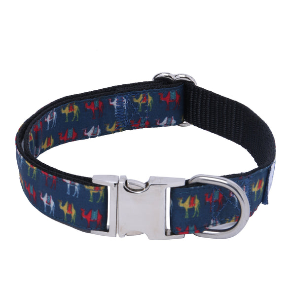 Dog Collar Camel Trails-Core Collar Heavy Duty-Rustproof Adjustable Metal Buckles for Small-Medium-Large Breeds