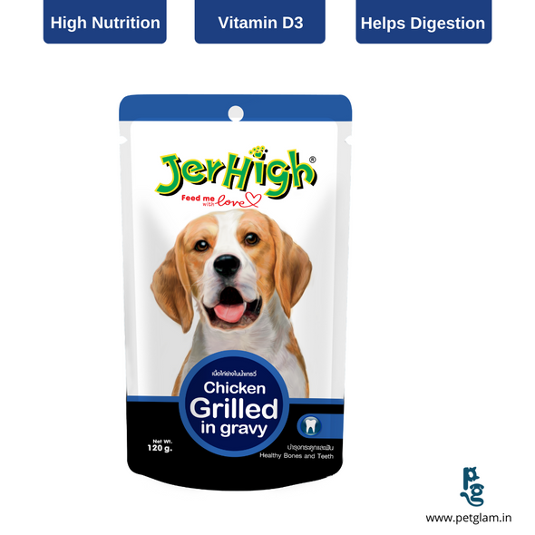 Jerhigh Grilled Chicken in Gravy-Wet Food For Dogs 120 Gms
