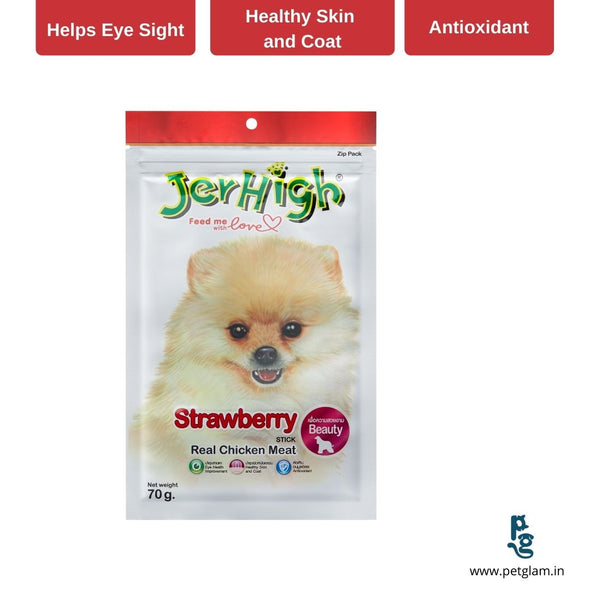 Jerhigh Strawberry Stick- Dog Treats & Chew Sticks 70 Gms