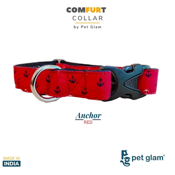 Dog Collar Anchor Red-ComFURt Collar for Labs, Golden Retrievers GSD Beagles Huskies Indies