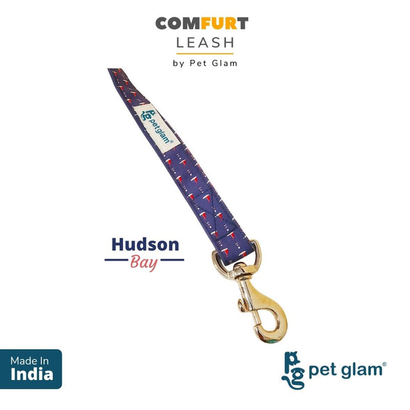 Pet Glam Dog Leash ComFURt Hudson Bay with Padded Handle- Heavy Duty Hardware-Dog Walks Leash Training-5 Ft Long 1 inch Wide