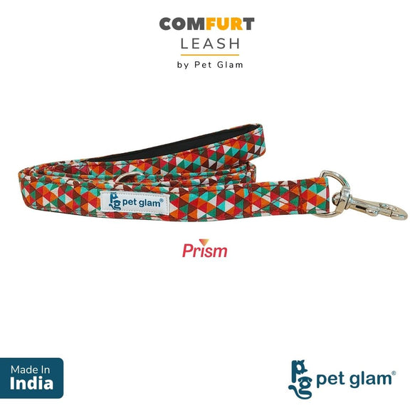 Pet Glam Dog Leash ComFURt Prism with Padded Handle- Heavy Duty Hardware-Dog Walks Leash Training-5 Ft Long 1 inch Wide