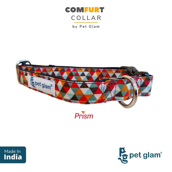 Pet Glam ComFURt Dog Collar Prism (Large)-Comfortable Padded Lining-for Medium-Large Dogs-Durable Hardware-Fits-Beagles, Labs, Indies