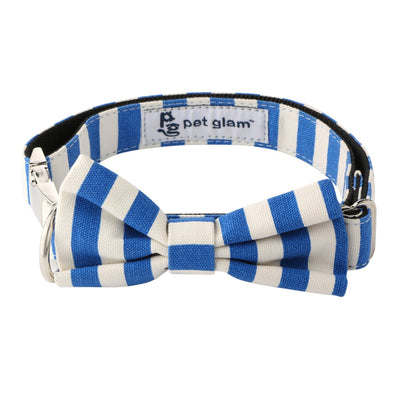 Pet Glam Dog Collar Bow Tie-Fresh Blue (Large )-Metal Buckles- For Labradors, Golden Retriever, German Shepherd