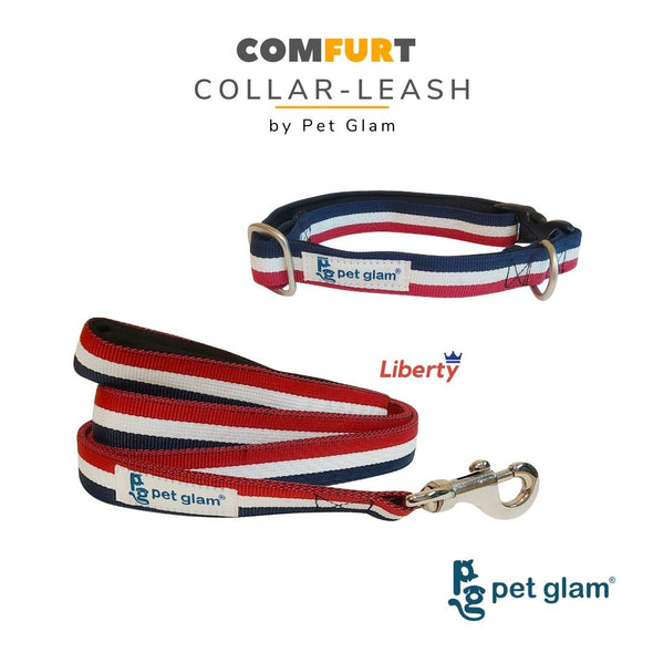 Pet Glam Dog Collar Leash Set Liberty-for Beagles Labradors GSD Retrievers