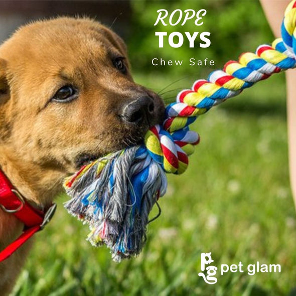 Pet Glam 4 Knot Rope Toy for Dogs-Chew Safe Toys for Dogs and Puppies