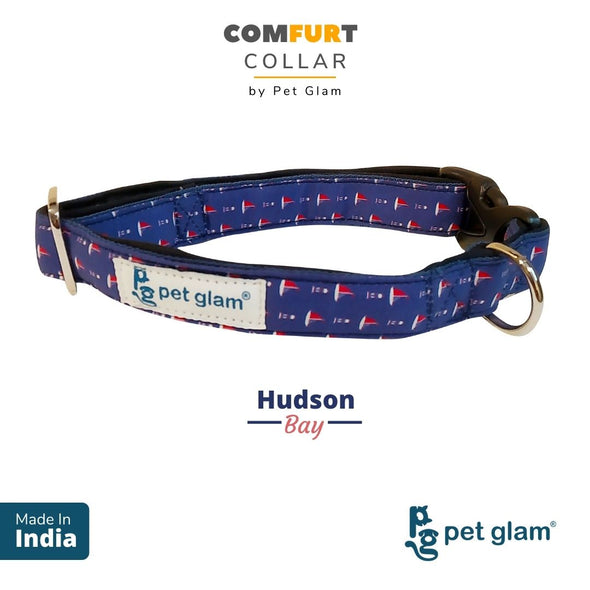 Pet Glam ComFURt Dog Collar Hudson Bay-Comfortable Padded Lining-for Small Medium Large Fits-Puppy Dogs, Beagles, Labs, Indies, Huskies, JRT