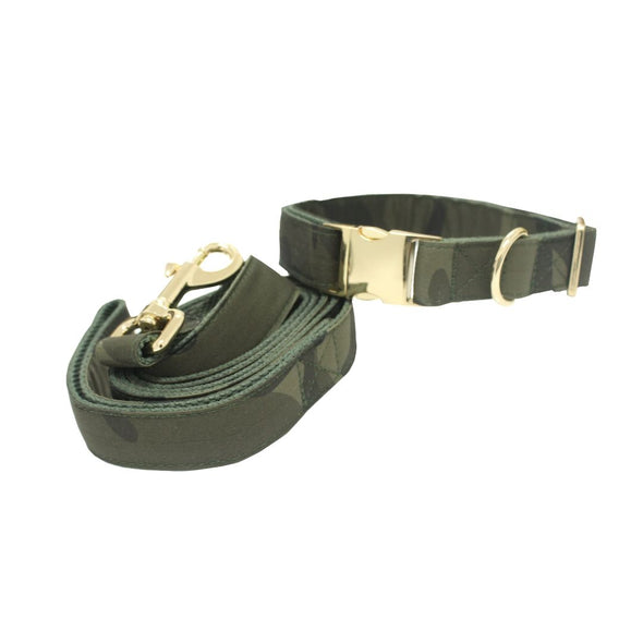 Dog Collar Leash Set-Regiment57-Large-Gold Buckles