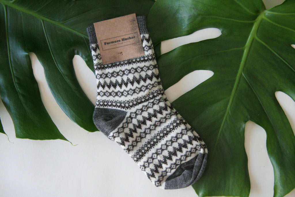 Reykjahlid. Warm and soft woolen children socks, icelandic design.