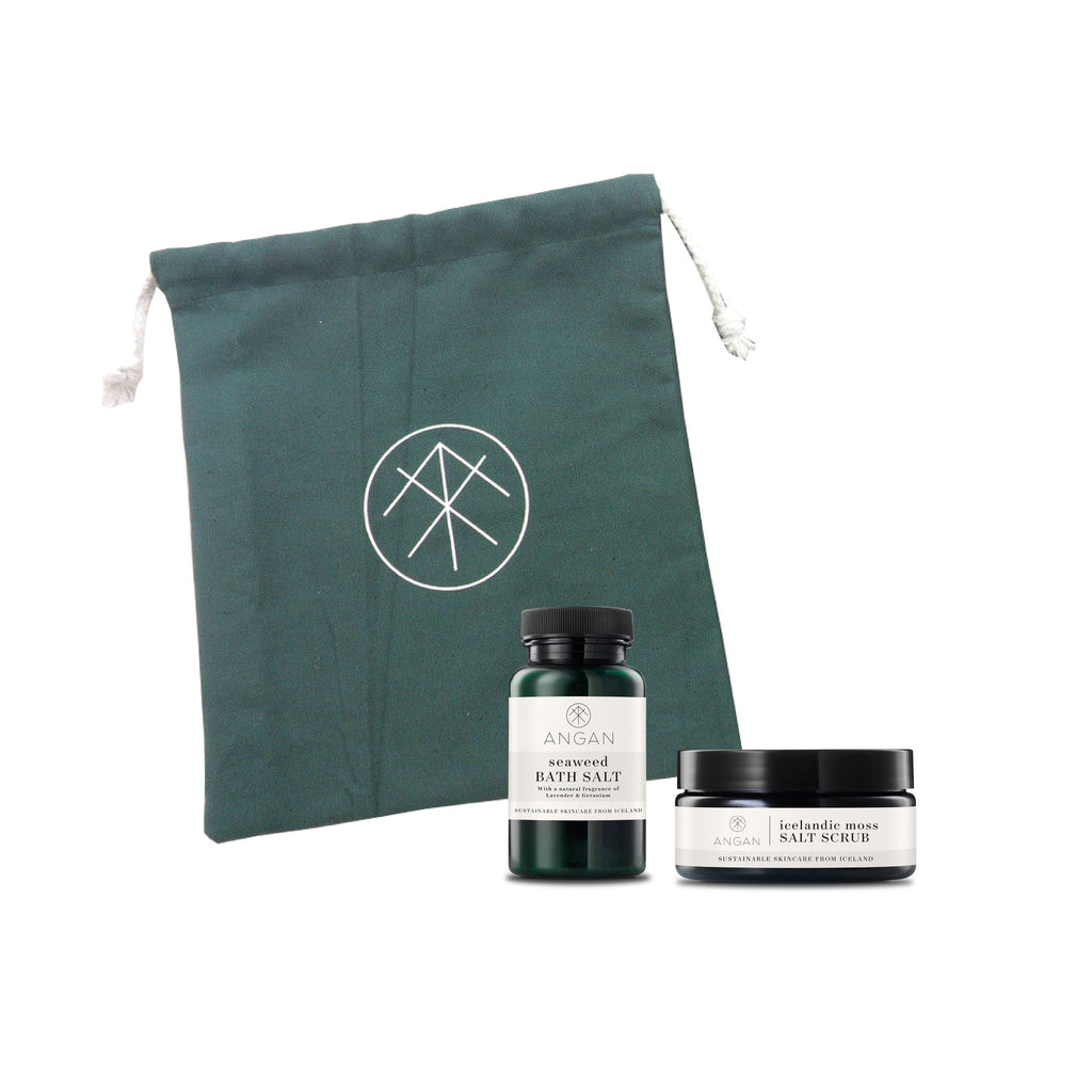 This set contains: SEWEED BATH SALT 100 gr ICELANDIC MOSS SALT SCRUB 100 gr