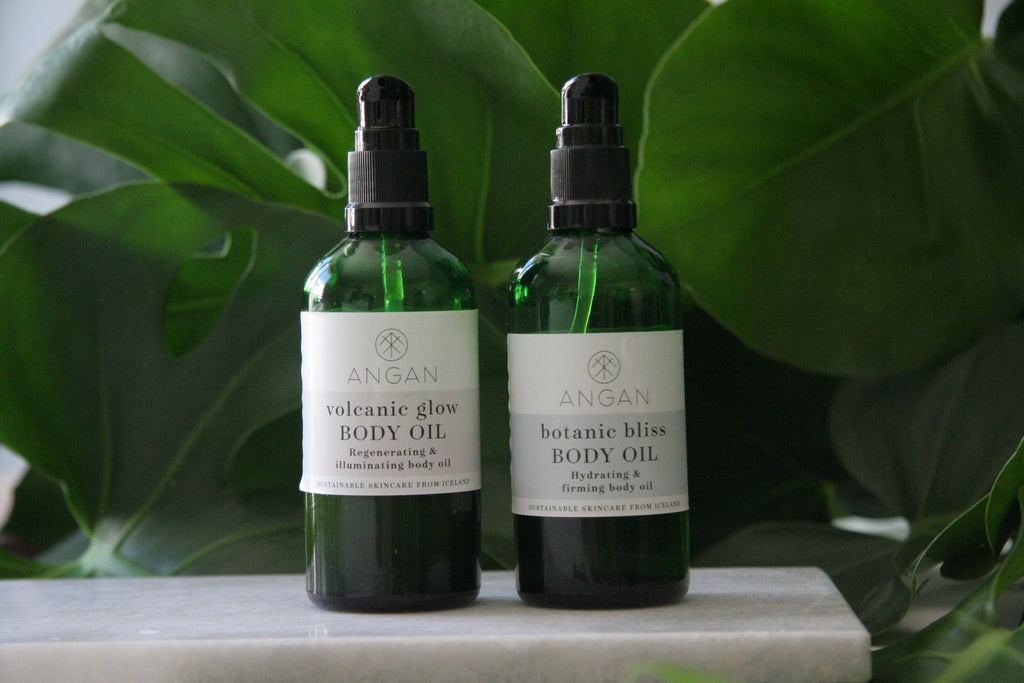 Volcanic glow and botanic bliss body oils from Iceland