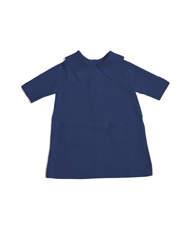 Sister dress in blue, front side. Made from 100% durable cotton, icelandic design