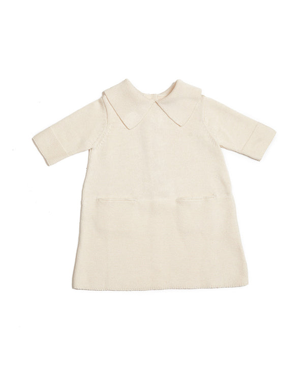 Sister dress in cream, front side. Made from 100% durable cotton, icelandic design
