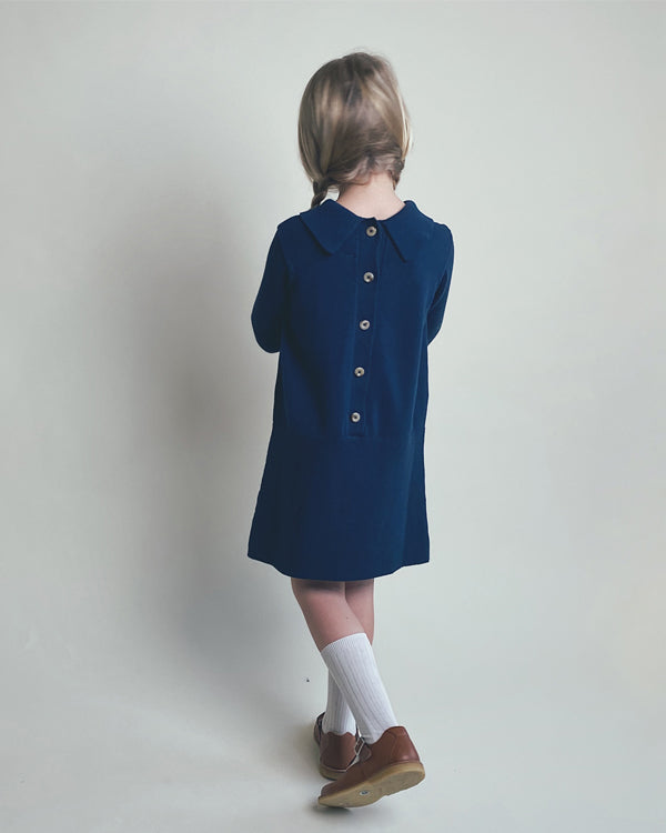 Sister dress in blue, backside. Made from 100% durable cotton, icelandic design
