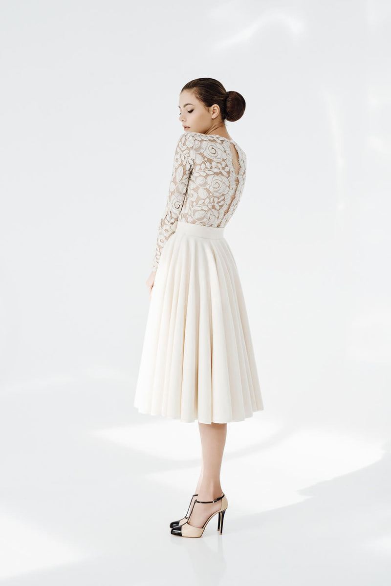 Chantale skirt in Cream and Angora Top With detail Back