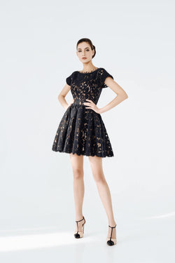 Alice angora short full dress, front view