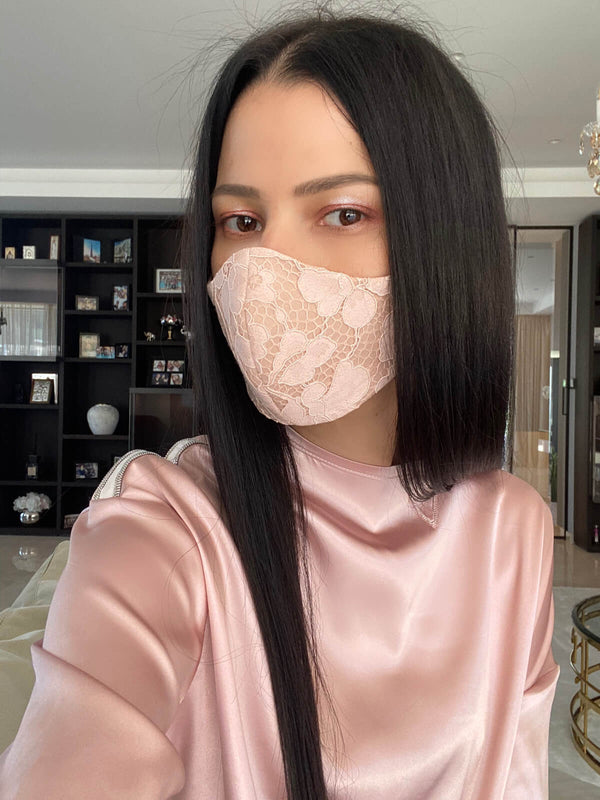 Blushing Pink Lace Mask