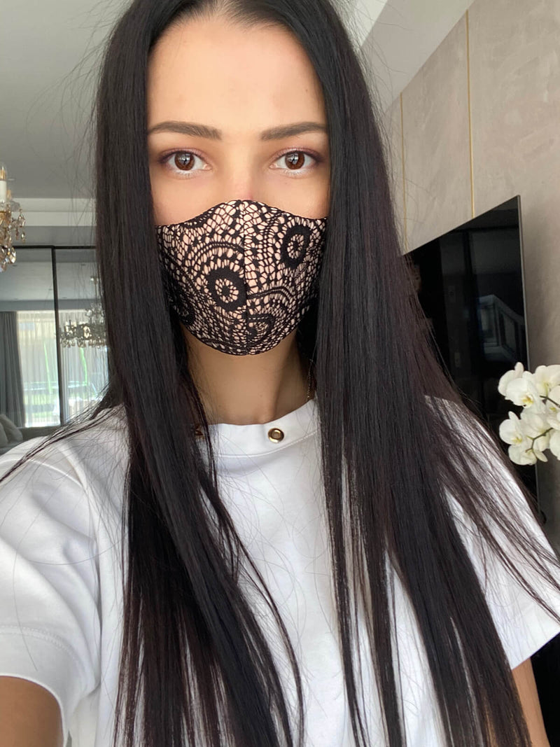 Black Circles Lace Mask