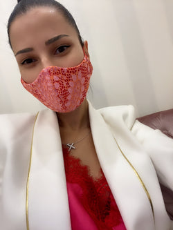 Coral Pink Lace Mask