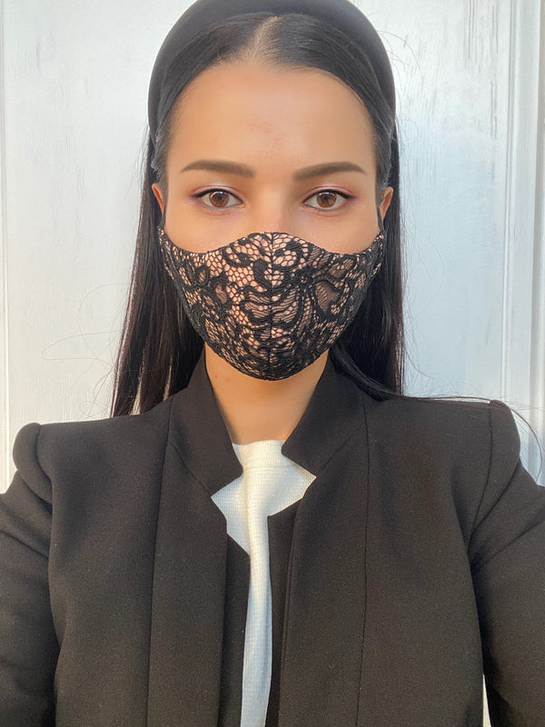 Black Flower Lace Mask