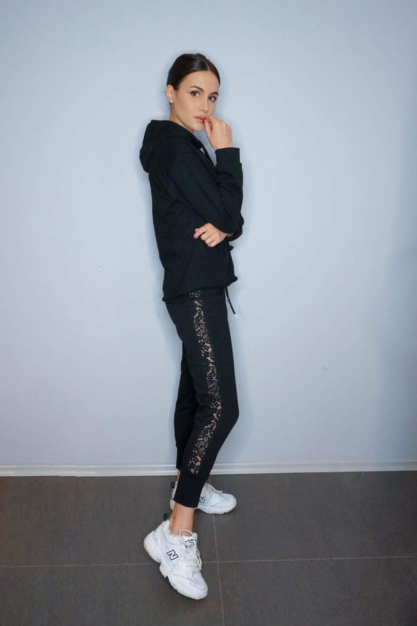 Black Blossom Lace Track Pants