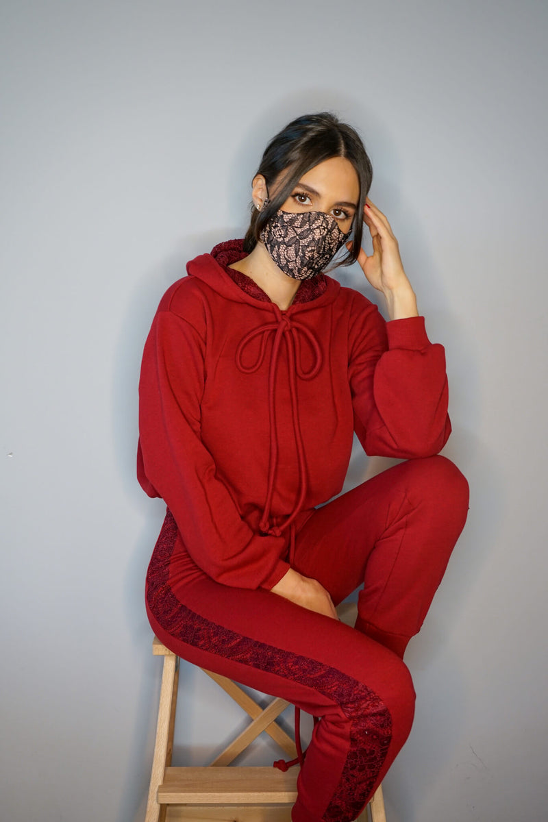 Ruby Red Lace Track Pants