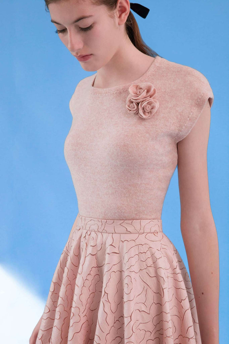 CLEMENCE TOP PEACH PINK WITH 3D FLOWERS