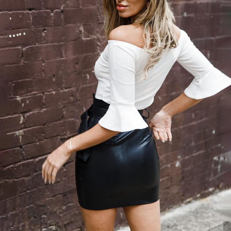 Faux Leather Detail Mini Skirt - TheGlamLab