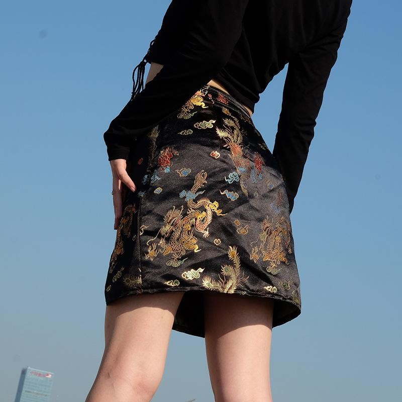Satin Dragon Print Skirt - TheGlamLab