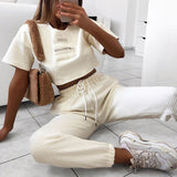 High-Waisted Waffle Joggers and Crop Top Set - TheGlamLab