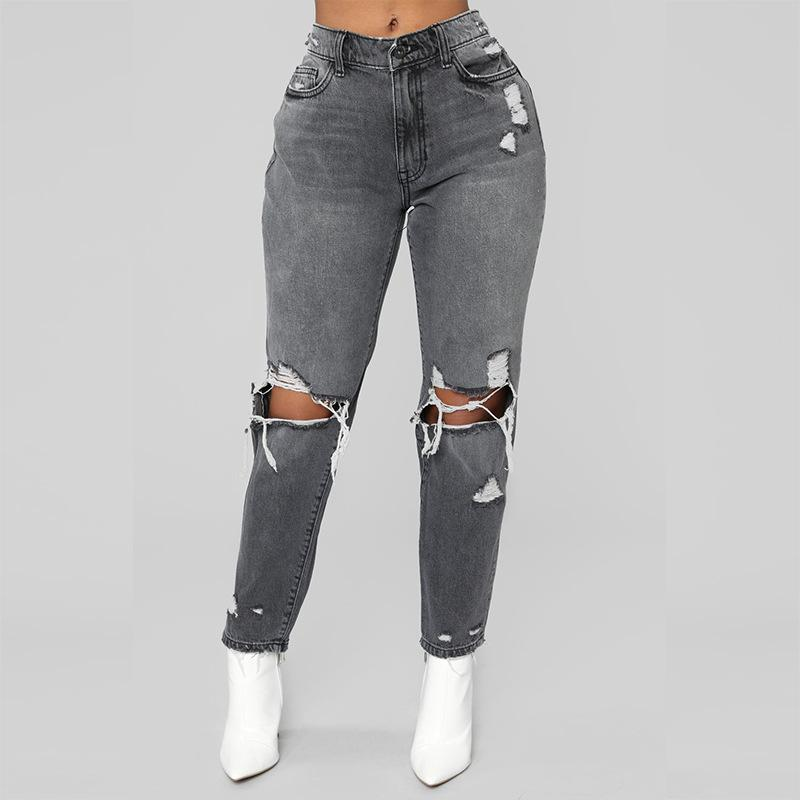 High Waisted Distressed Jeans - TheGlamLab
