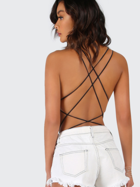 Strappy Backless Body Suit - TheGlamLab