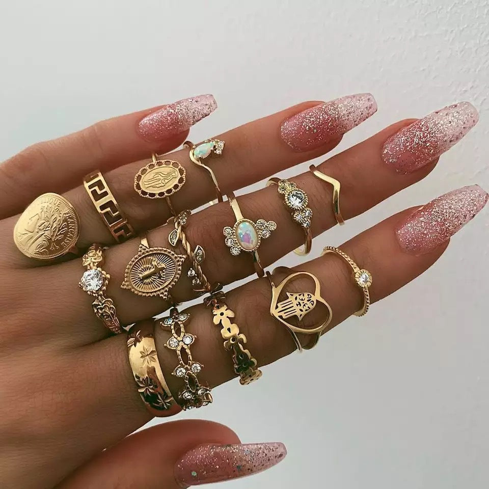 Cross and Floral Ring Set