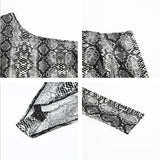One Shoulder Snake Print Bodysuit - TheGlamLab