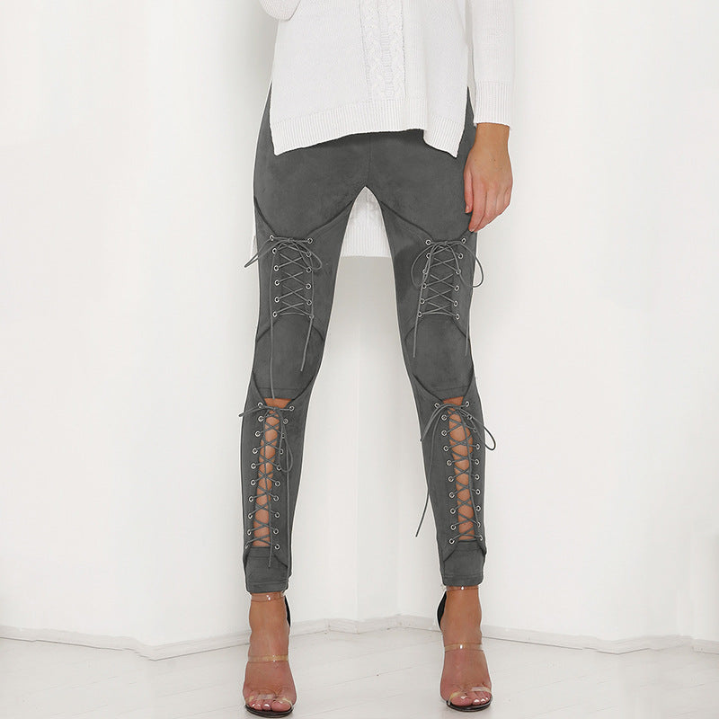 Lace-Up Suede Pants